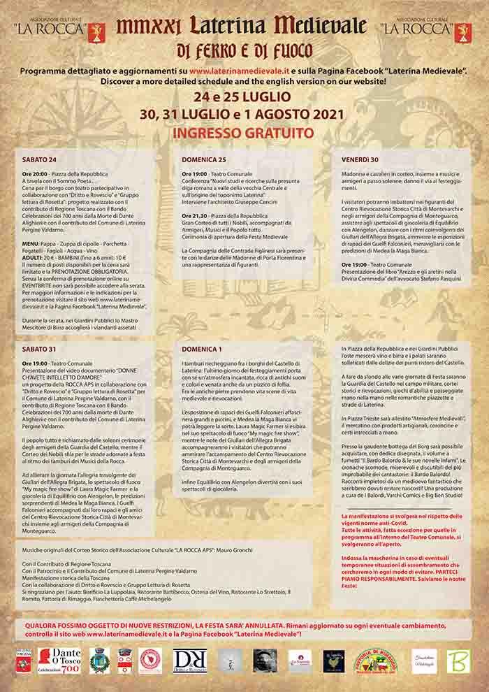 Programma Laterina Medievale 2021 - Luglio e Agosto