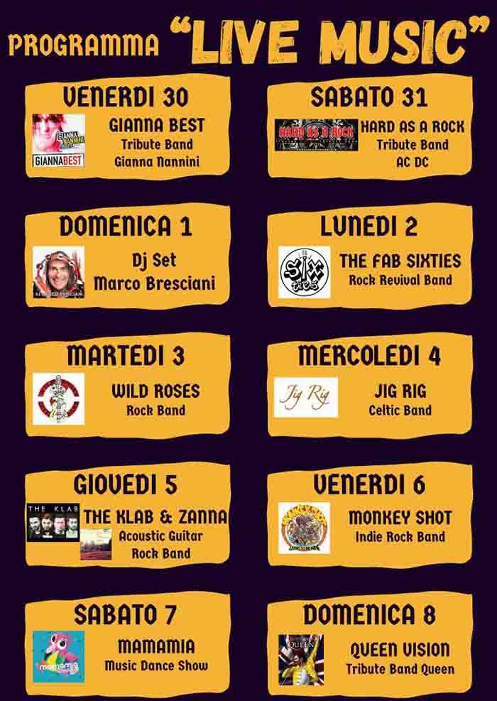 Programma Live Music Certaldo in Fermento 2021 - Festa della Birra