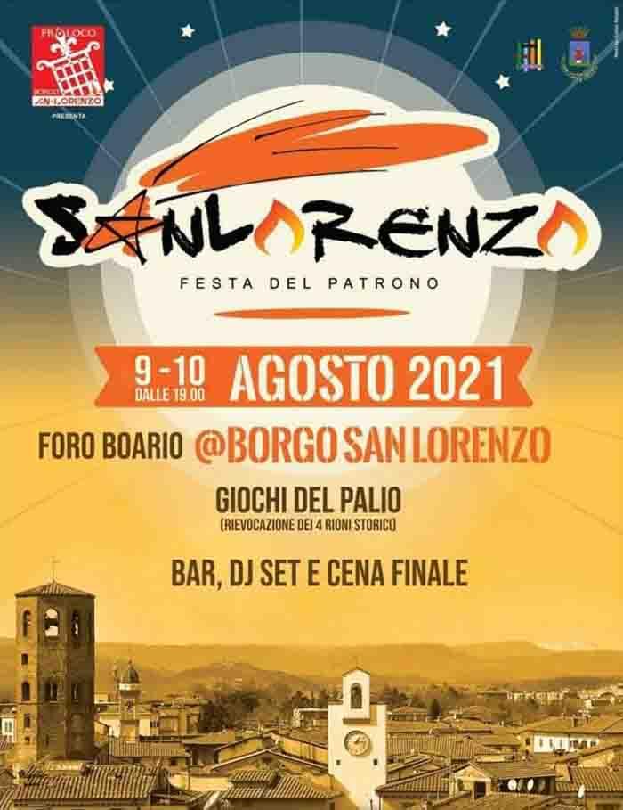 Manifesto Borgo San Lorenzo Festa del Patrono 2021 9-10 Agosto