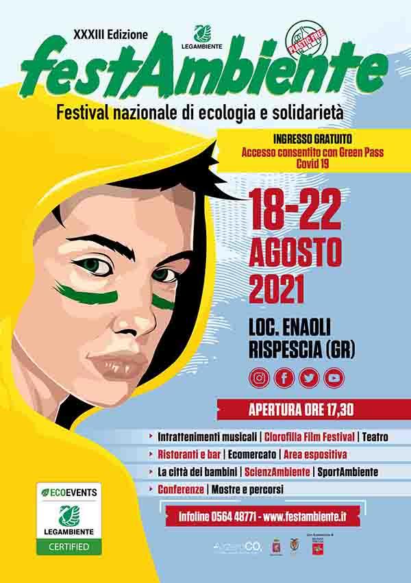 Manifesto Festambiente 2021 a Grosseto Rispescia 18-22 Agosto