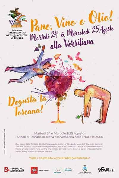 Manifesto Festival della Versiliana 2021 Pane Vino Olio 24-25 Agosto