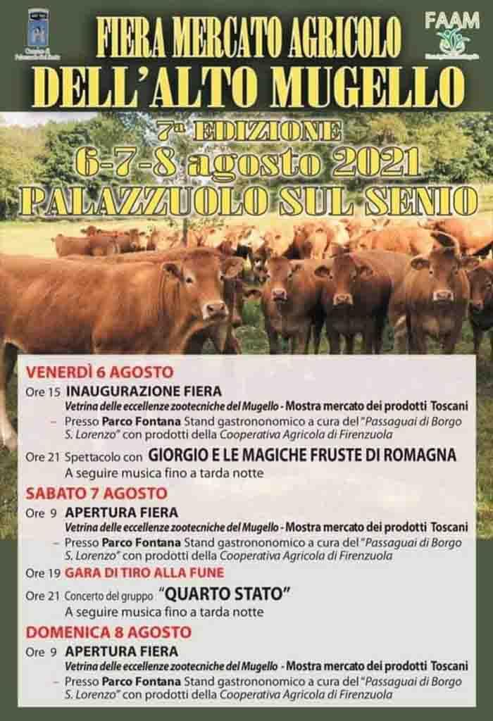 Programma Fiera Mercato Agricolo Alto Mugello 6-7 e 8 Agosto 2021