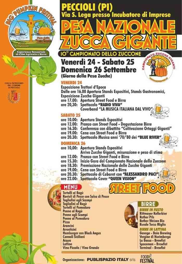 Manifesto Big Pumpkin Festival e il Campionato dello Zuccone 2021 Peccioli