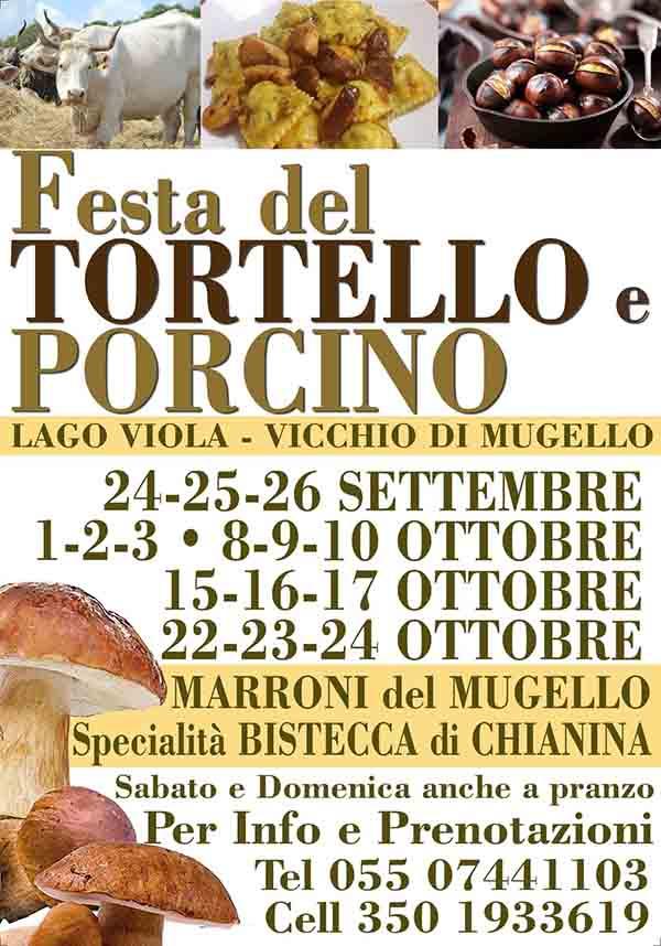 Manifesto Festa del Tortello e Porcino 2021 al Lago Viola di Vicchio di Mugello