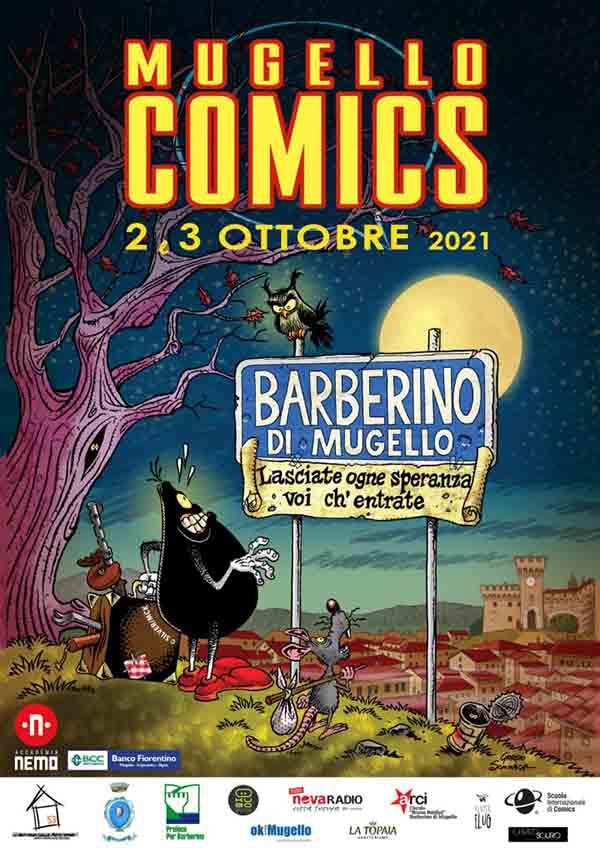 Manifesto Mugello Comics 2021 a Barberino del Mugello 2-3 Ottobre