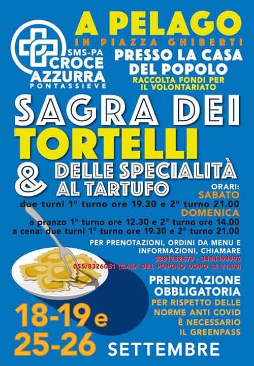 Manifesto Sagra dei Tortelli e delle specialità al Tartufo 2021 a Pelago - Settembre