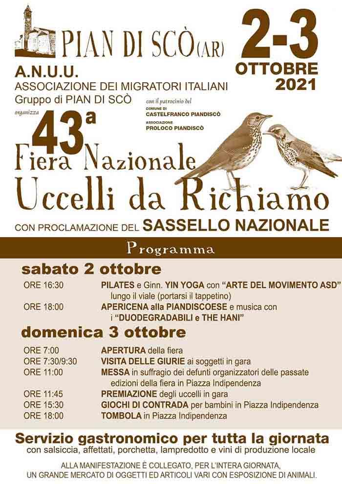 Programma Fiera degli Uccelli a Pian di Scò 2021 - 2 e 3 Ottobre