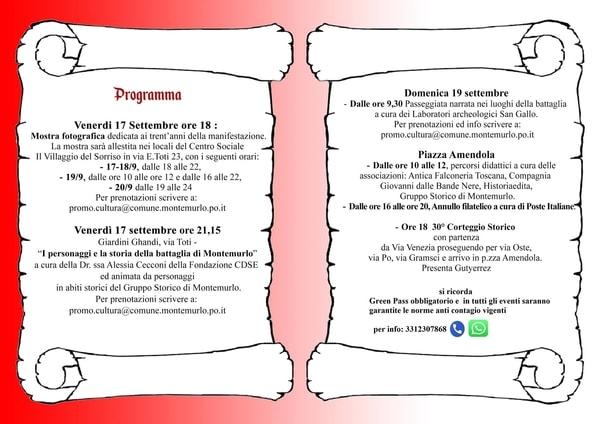 Programma Corteo Storico Montemurlo