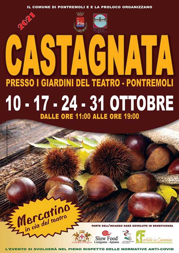 Manifesto La Castagnata a Pontremoli 2021 10-17-24-31 ottobre